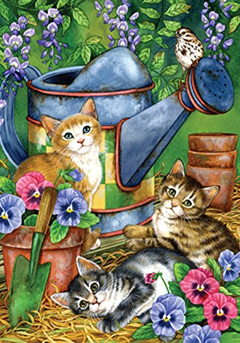 Toland Home Garden Garden Kitties 12.5 x 18 Inch Decorative Spring Summer Kitty Cat Pansy Watering Can Garden Flag