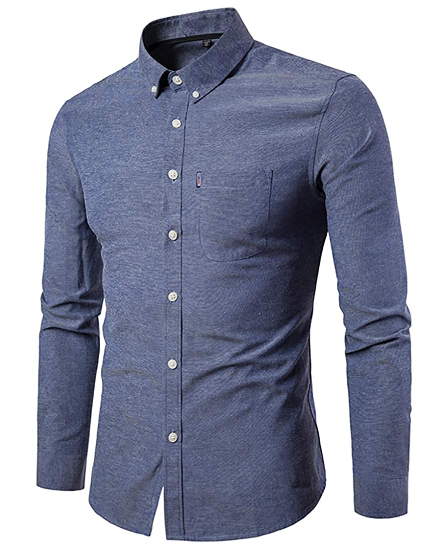 Mens Regular Fit Long Sleeve Solid Cotton Shirt Casual Oxford Button Down Dress Shirt