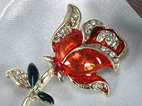 Alilang Golden Tone Crystal Rhinestone Hand Painted Single Stem Red Love Rose Brooch Pin by Alilang (Image #4)