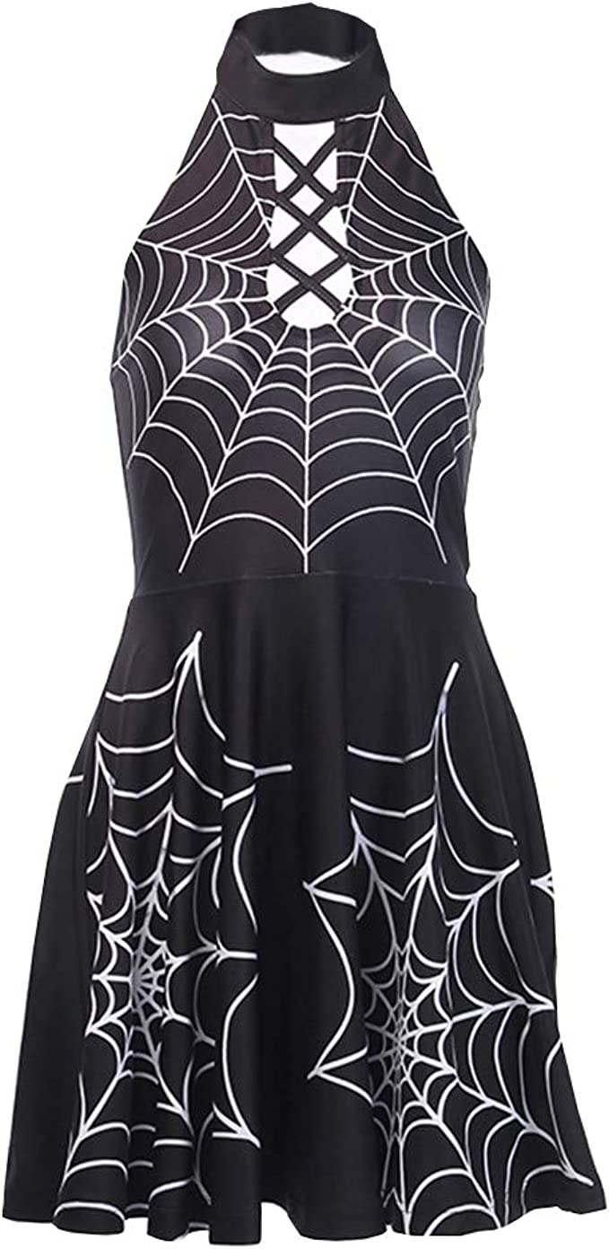Retro Womens Gothic Strappy Skater Party Backless Mini Dress Lace Up Sundress