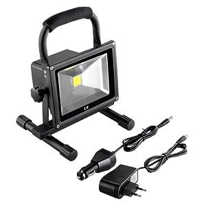 LE 20W Projecteur LED Portable, Rechageable, Lampe de Travaux Equivalent à Ampoule Halogne 100W, 1400lm, Blanc du Jour 6000K, Adaptateur et Chargeur de Coiture inclus, Etanche IP65, Eclairage d'extérieur d'appoint