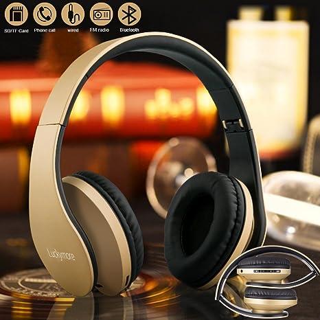 Auriculares de Diadema Bluetooth,Cascos musica Plegable inalambricos con Radio y Micrófono Manos Libres,