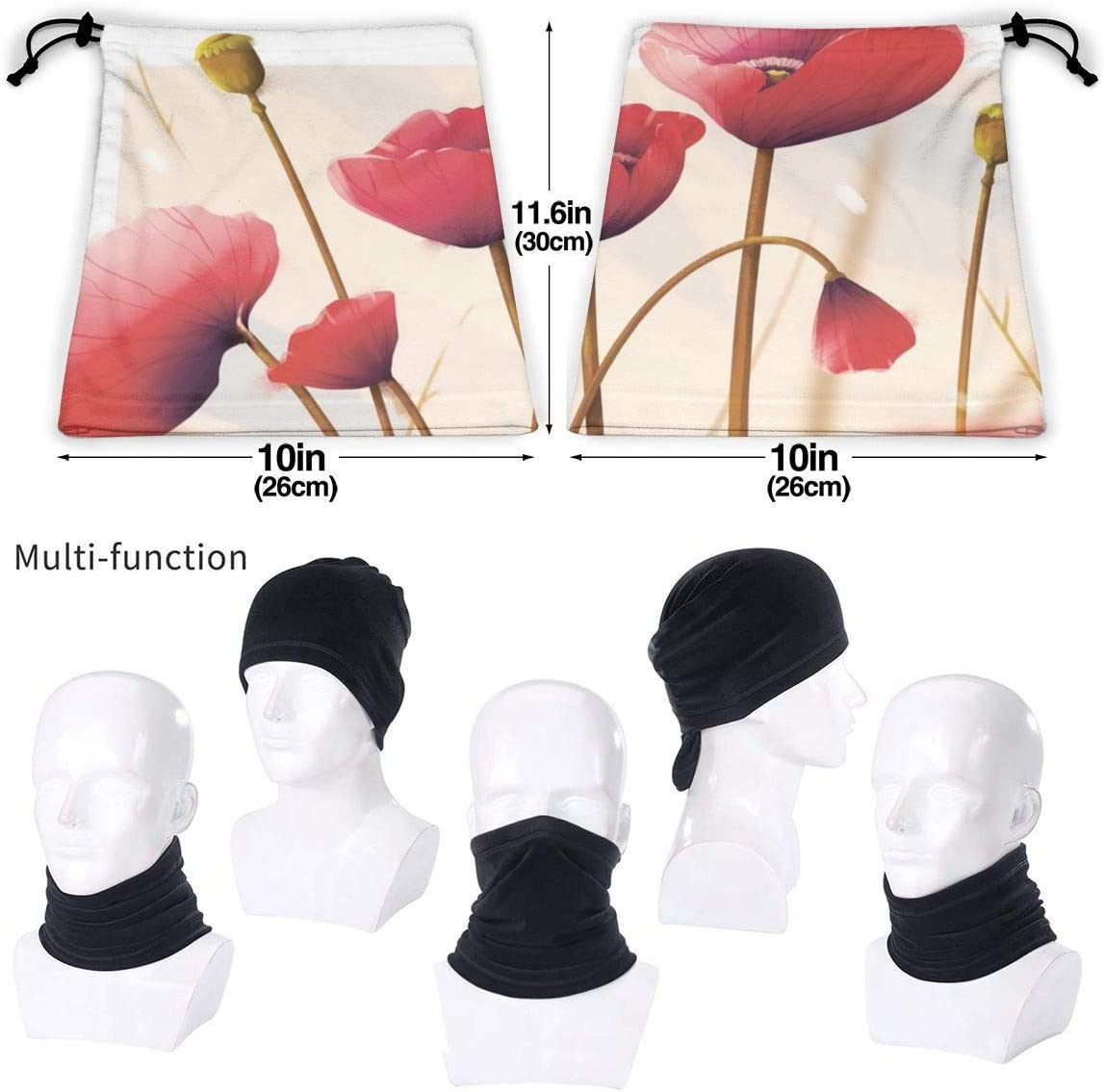 for Men /& Women ShiHaiYunBai Poppy Flowers Autumn BandaFace Sun UV Protection Fishing Neck Gaiter
