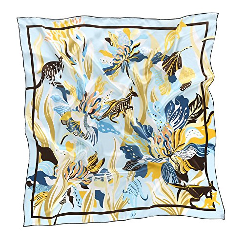 Chamo Pomeo Flowers Silk Scarf for Women Fashion Printing Square Neck Scarves 34.6x34.6 inches