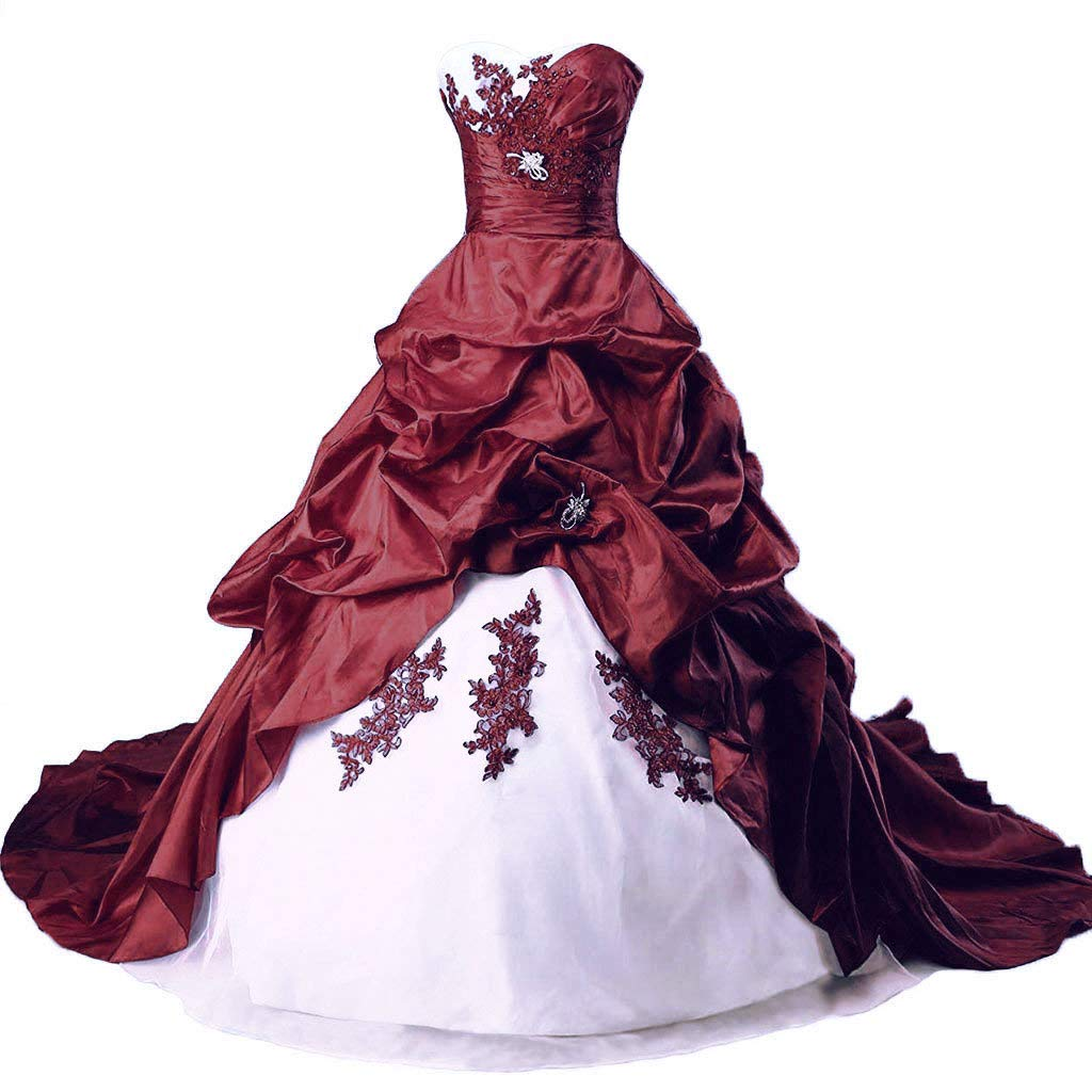 White & Burgundy Vantexi Women's Elegant Sweetheart Taffeta Wedding Dress Lace Applique Bride Dresses