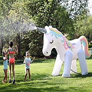 Zoostliss Unicorn Sprinkler Inflatable Water Spray Toys Giant Yard Backyard Lawn Unicorn Sprinkler Kids Outdoor Party…