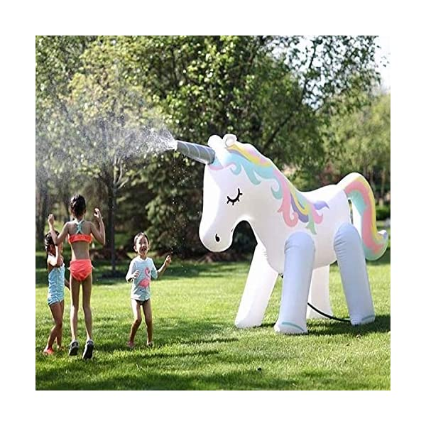 Zoostliss Unicorn Sprinkler Inflatable Water Spray Toys Giant Yard Backyard Lawn Unicorn Sprinkler Kids Outdoor Party… 3