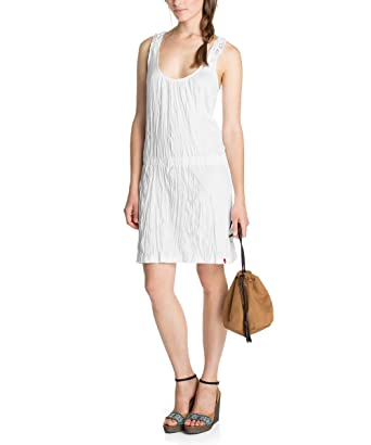 ae90a47b4ccb edc by Esprit Women Pinafore dress Crew Neck Sleeveless Casual Dress -  White - Weiß (114 drummers white) - 8: Amazon.co.uk: Clothing