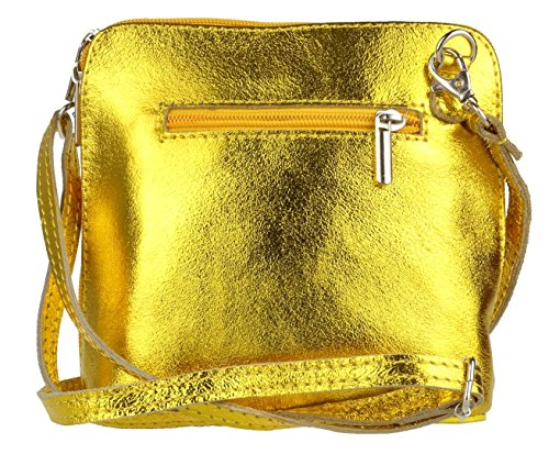 Genuine Girly Shoulder Body Cross Metallic HandBags Gold Bright Bag Leather qvWvEr
