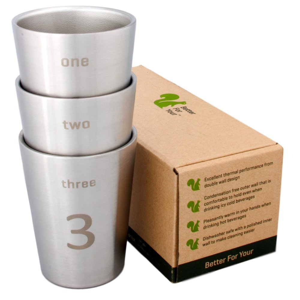 Better For Your - Small Stainless Steel Double Wall Number Cups - 8oz (250ml) - Set of 3 - Tumblers with Numbers and Words 1-2-3
