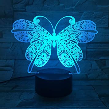 Mariposa luz Nocturna Interruptor táctil Cambio de Color lámpara ...