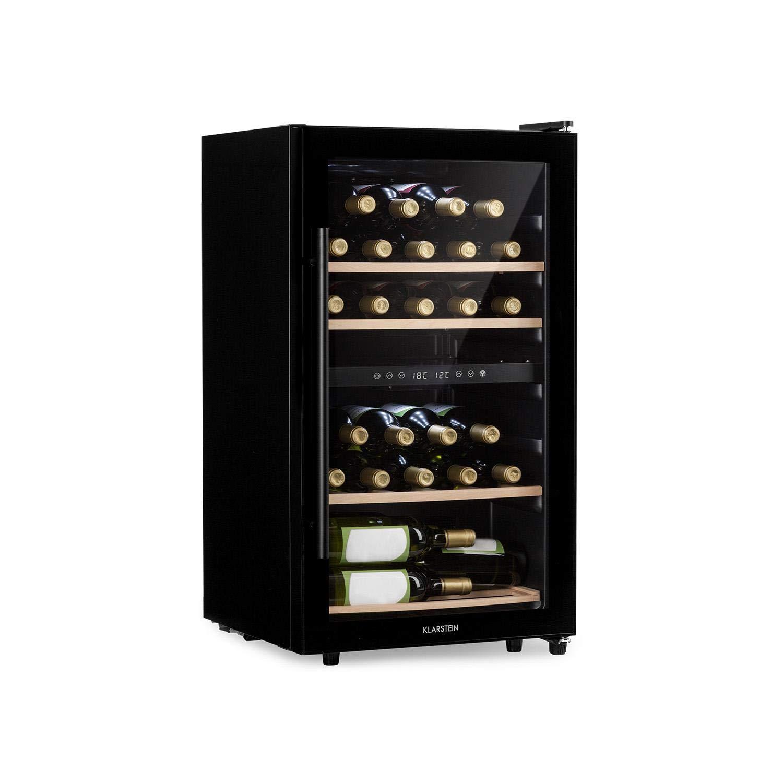 Klarstein Barossa 29D • Cave à vin 2 zones • 34 bouteilles • porte vitrée • classe A