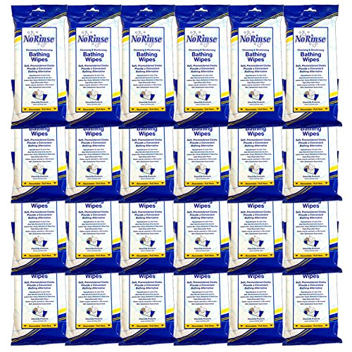 (Set/24) No Rinse Body Wipes - Caregiver Bathing Cloths 192 Wipes Total by Clean Life Products