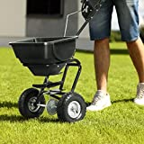 Item Valley Broadcast Spreader Builder Garden Seeder Push Walk Behind Fertilizer Black