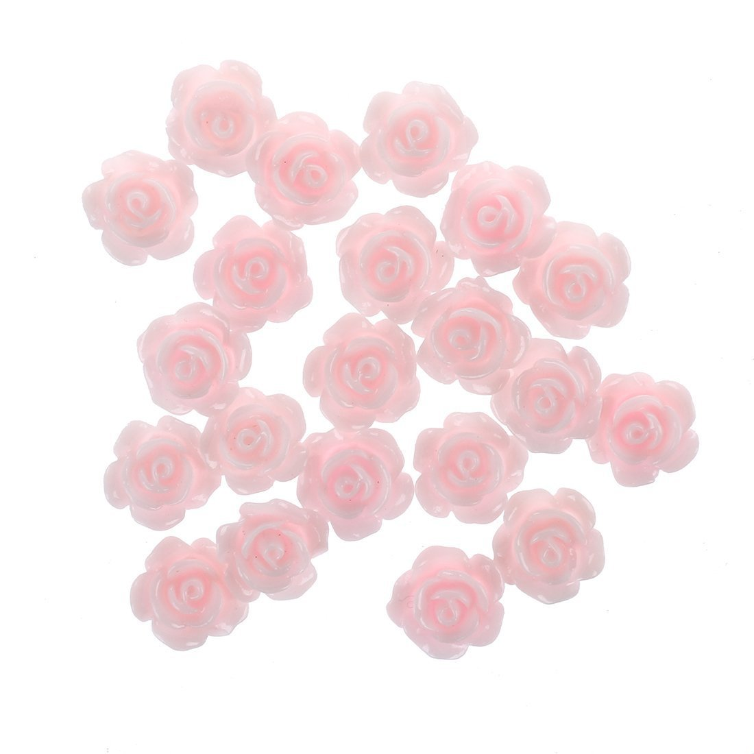 SODIAL(R) 20pcs 3D Pink Little Rose Flower with Rhinestones Nail Art Decoration