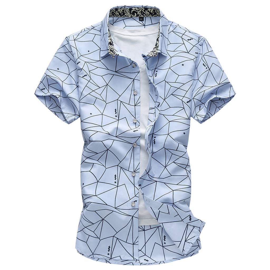 QBQCBB Mens Summer Fashion Shirts Casual Short Sleeve Beach Tops Loose Casual Blouse(Blue,XXXL)