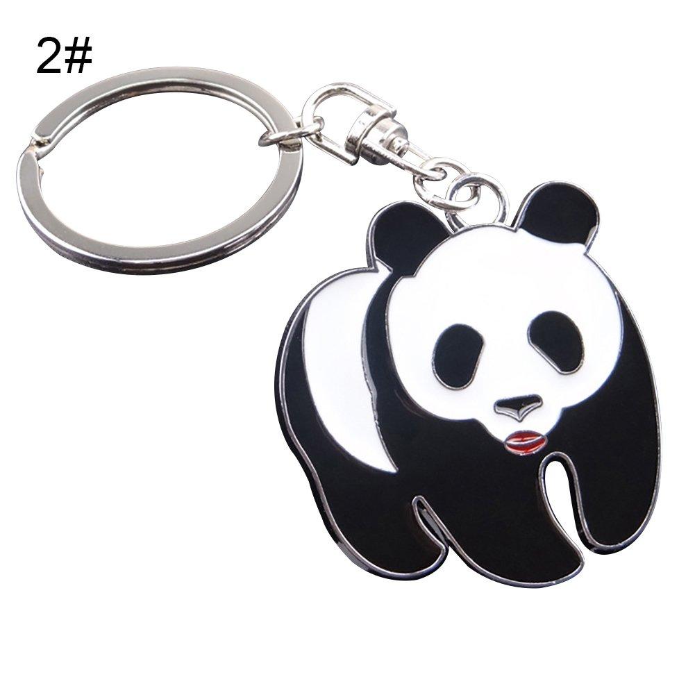 Livecity Lovely Panda Metal Keyring Keychain Car Key Holder Bag Pendant Gift (1#)