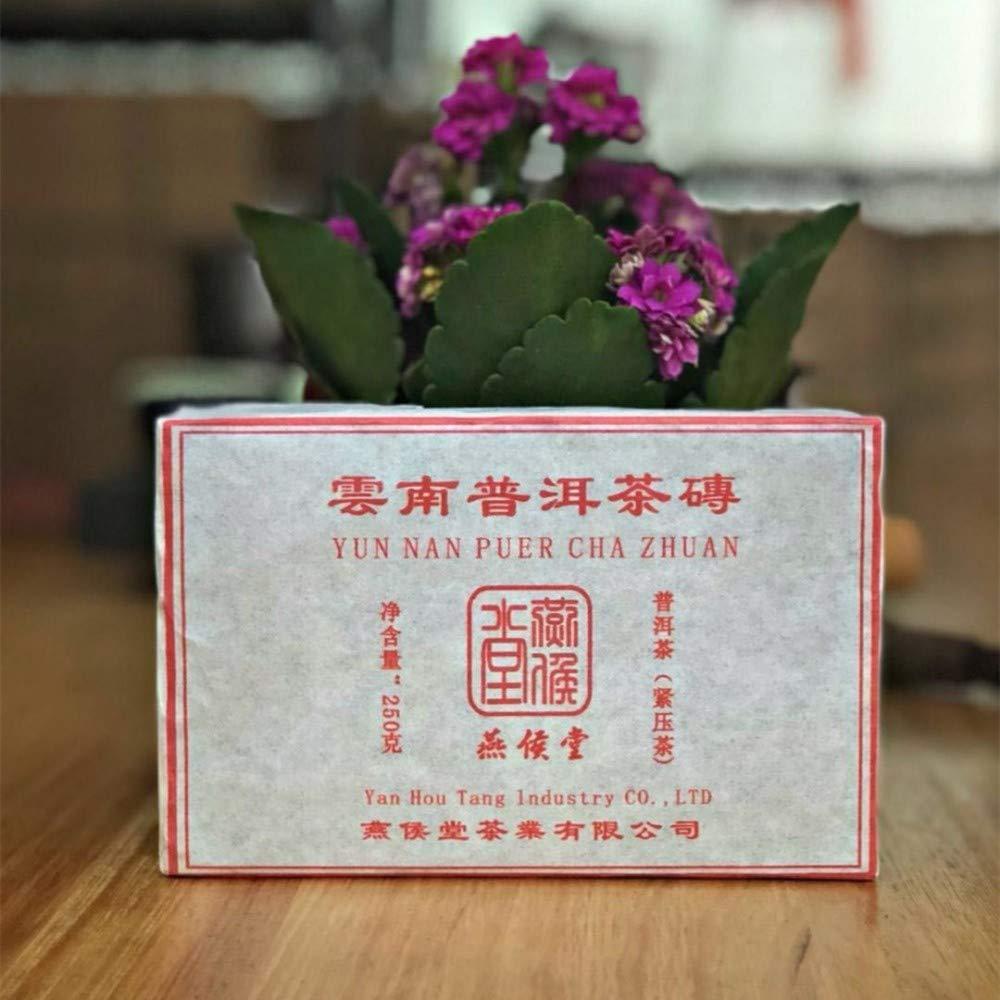 Yan Hou Tang 10 Years Aged Organic Chinese Yunnan Puerh Tea Black Brick Cha Ripe Fermented 250 Gram - Non-GMO Detox Weight Loss US FDA SGS Verified