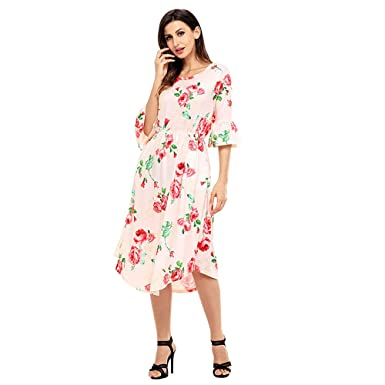 Women 3/4 Long Bell Sleeves Floral Print Dress Fashion Casual Cinch Waist Side Pockets