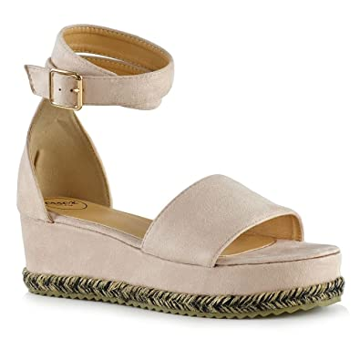 b1ef058f6c3 ESSEX GLAM Womens Espadrille Sandals Nude Faux Suede Wedge Heel Platform  Ankle Strap Shoes 5 B
