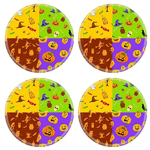 Liili Natural Rubber Round Coasters IMAGE ID: 25749593 illustration of set of colorful seamless background for (Bar 366 Halloween)