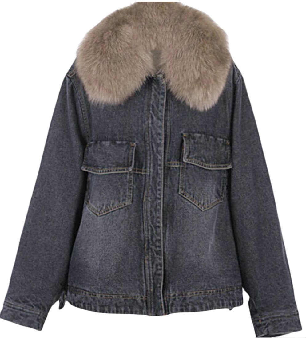 Jaycargogo Women's Sherpa Lined Denim Jacket With Removable Fur Collar 1 S