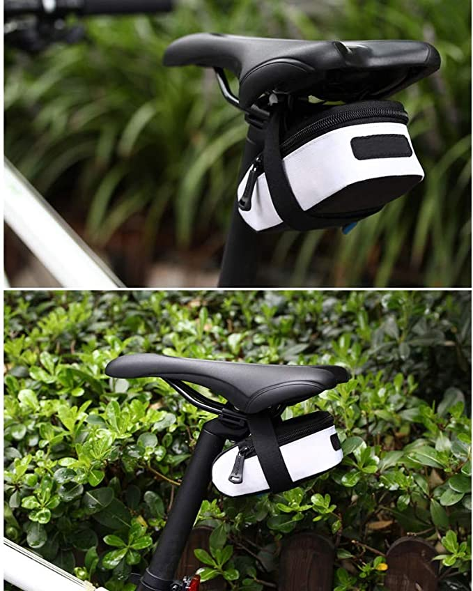 13 * 5 * 7cm Blanco BOLSAS De Sill/íN para Bicicleta Bicicletas Asiento De Ciclismo para Bicicleta De Carretera