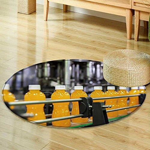 (Round Area Rug Carpetorange juice bottles transfer on conveyor belt system Living Dinning Room and Bedroom Rugs-Round 39