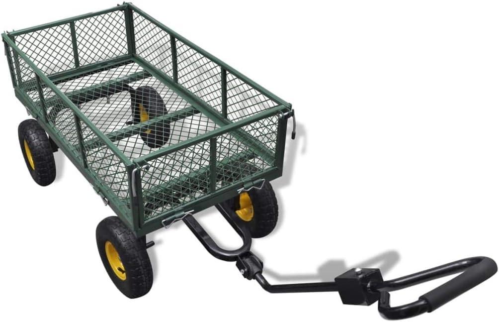 Garden Trolley Lawn Tractor Trailer Transport Soil Folding Side Walls 300kg Load