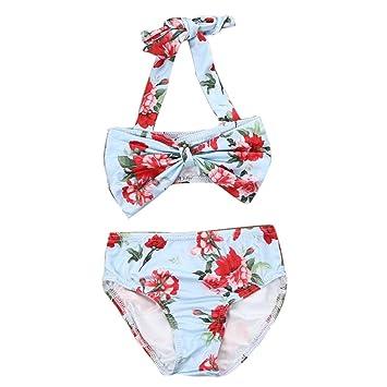 1fc3fc62e7 Tifiy bébé fille d'été décontracté Floral Nœud sans manches Polyester  maillots de bain Tassel