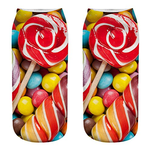 Christmas Gift Socks, Womens Cute Design Casual Casual Cotton Socks 3D Candy Printing Medium Socks Sports Socks ☀️ HunYUN☀️