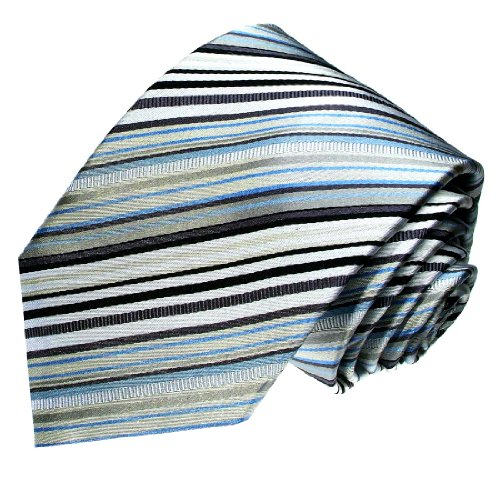 LORENZO CANA - Luxury Italian 100% Silk Grey Black Blue Striped Necktie - 84410