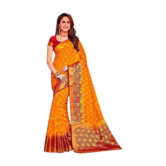 Diseñador de vestimenta tradicional india Sari de seda con blusa sin costuras 569