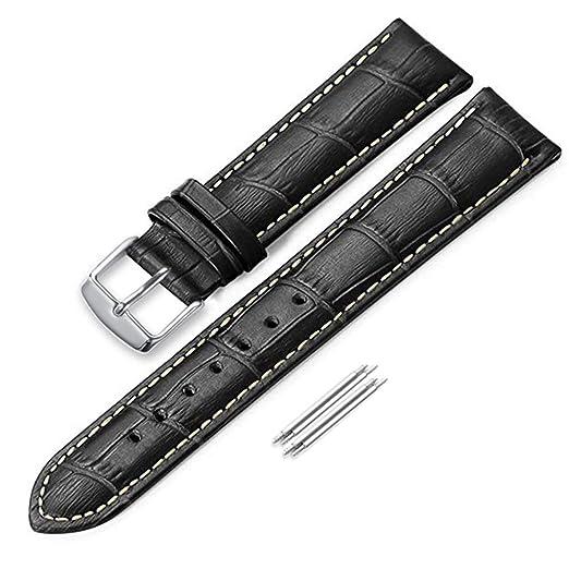 iStrap Correa para reloj, de 24 mm y hecha de auténtica piel de vacuno banda, acabado de piel de cocodrilo, hebilla de hebijón, color negro: Amazon.es: ...