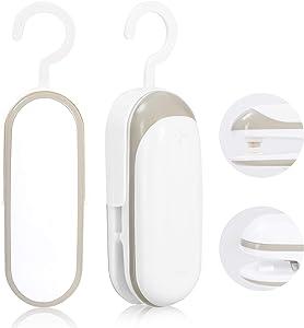 Mini Bag Sealer, 2 in 1 Heat Sealer and Cutter with Hook, Portable Vacuum Food Sealer, Handheld Bag Sealer for Kitchen, Picnic, Camping, Travel, White Set of 2
