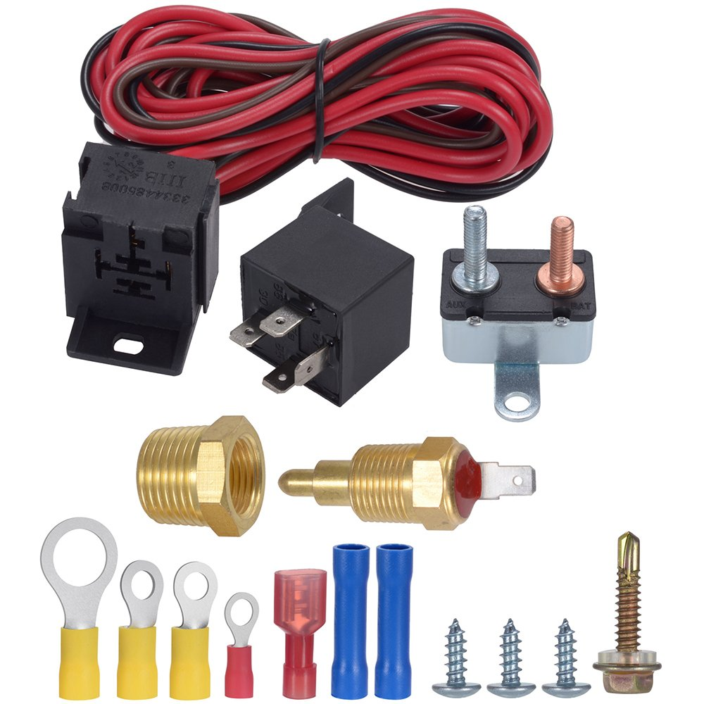 TURN RAISE 175-185 Degree Engine Electric Cooling Fan Thermostat Kit Temp Sensor Temperature Switch, 60 AMP Relay Kit