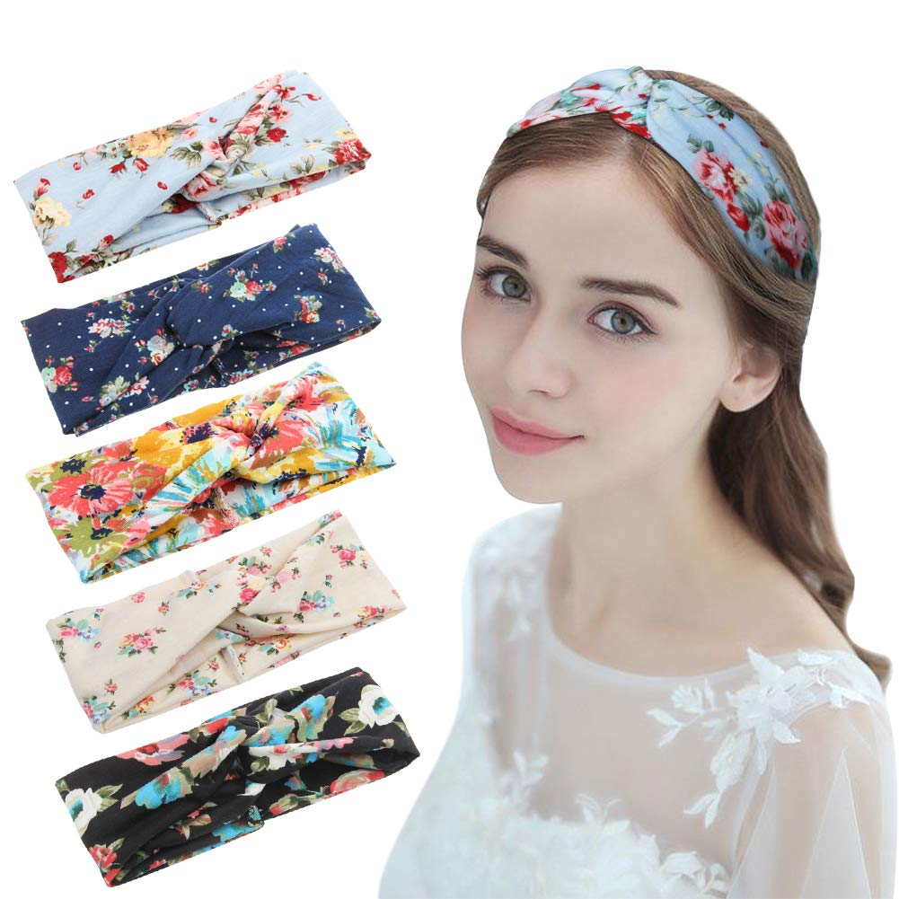 HZQDLN Bohemia Style Headbands Vintage Elastic Printed Head Wrap Stretchy Hairband Twisted Cute Girl Hair Accessories for 5 Package
