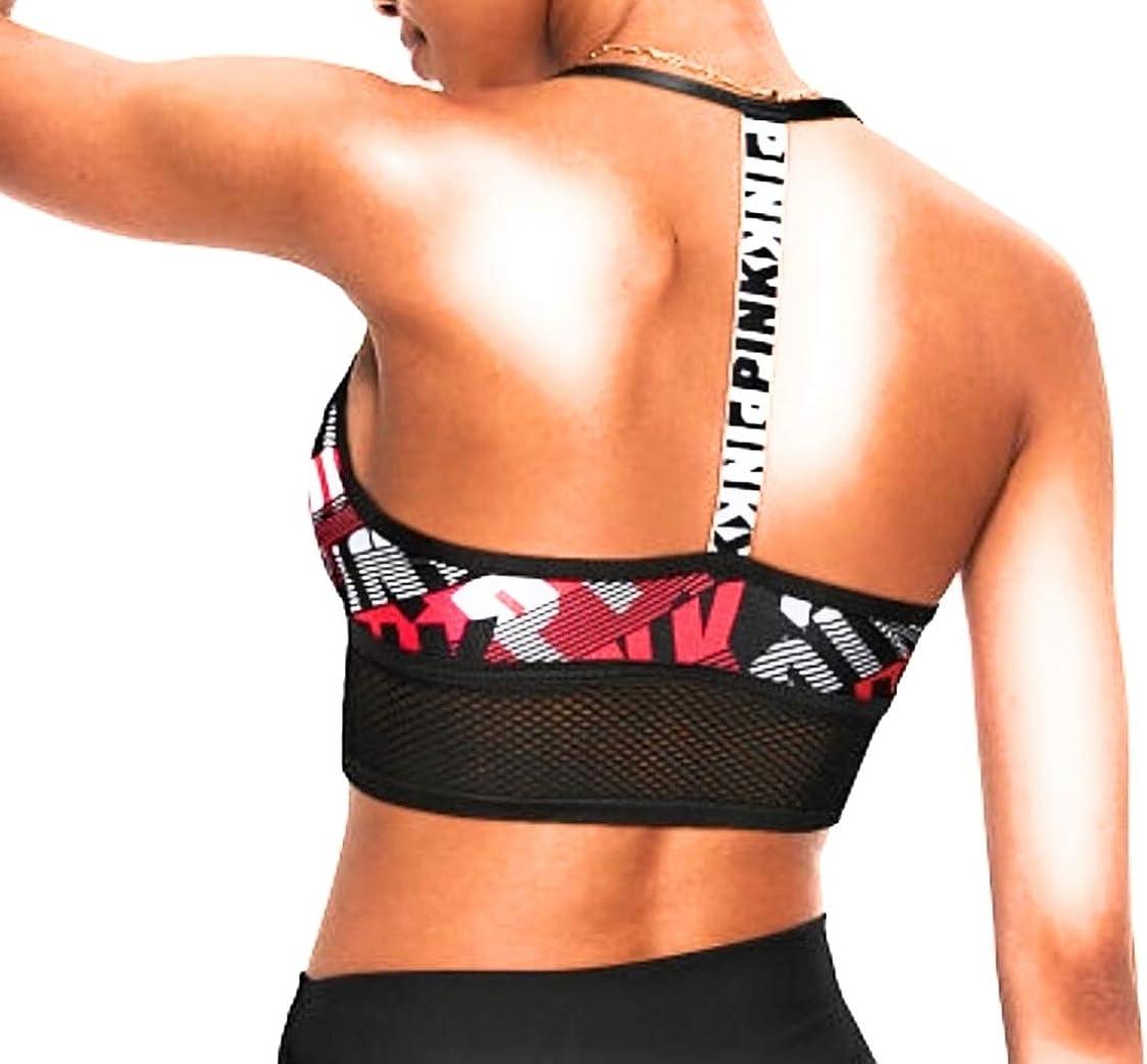 Victoria/'s Secret Pink Wireless T-Back Bra Lightly Lined Black//Red Logo Large