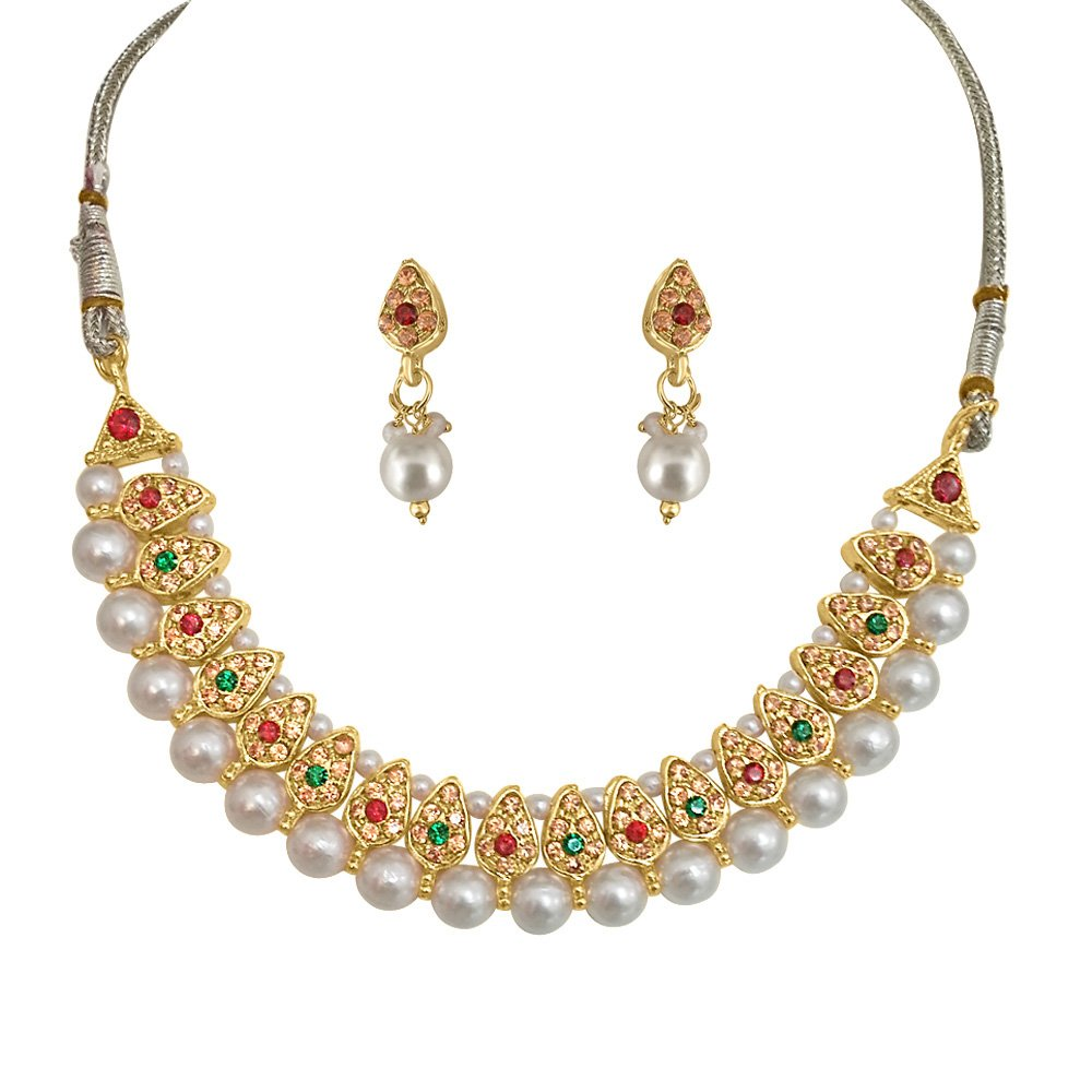 fc3854e1c5563 Surat Diamonds Traditional Red & Green Coloured Stone & Shell Pearl  Necklace & Earring Set for Women (PS134)