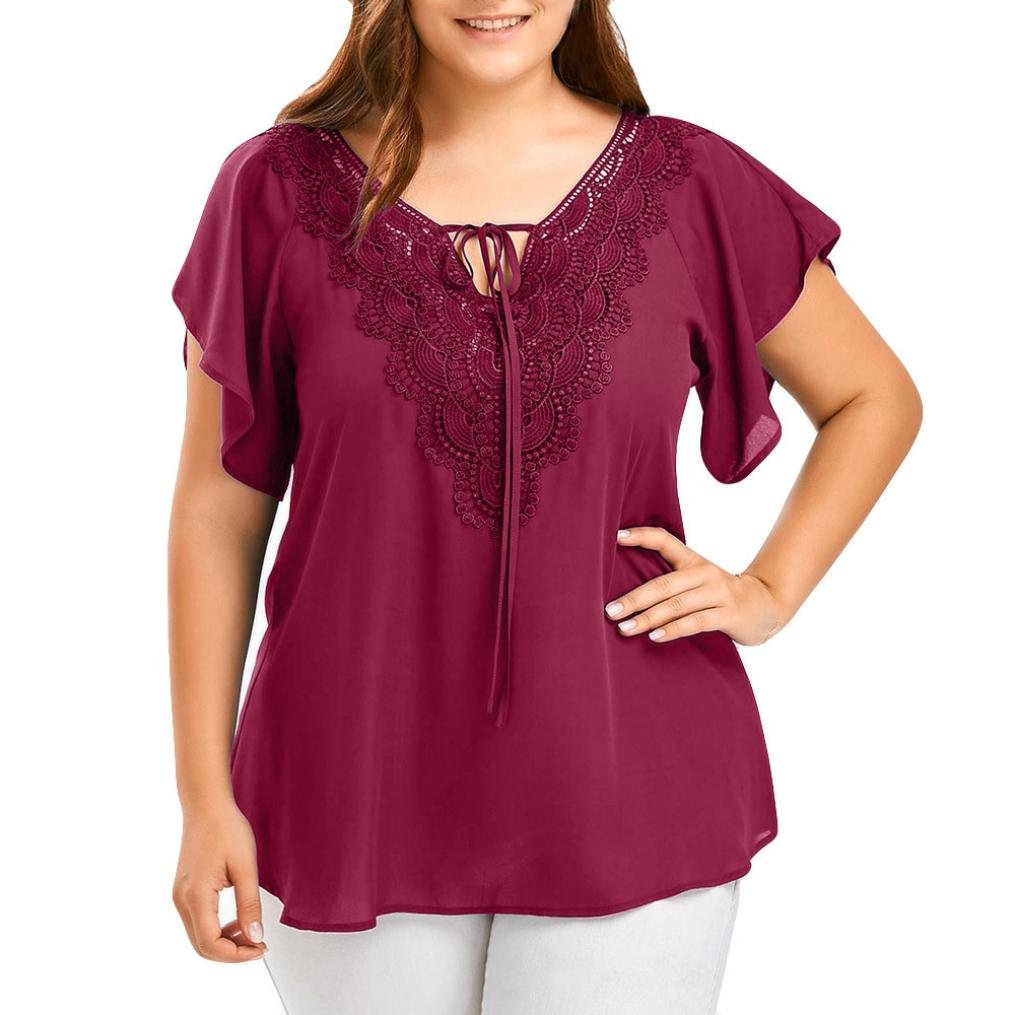 Mikkar Womens T-Shirt Tops Tees Curve Appeal Lace Blouse Bat Short Sleeve