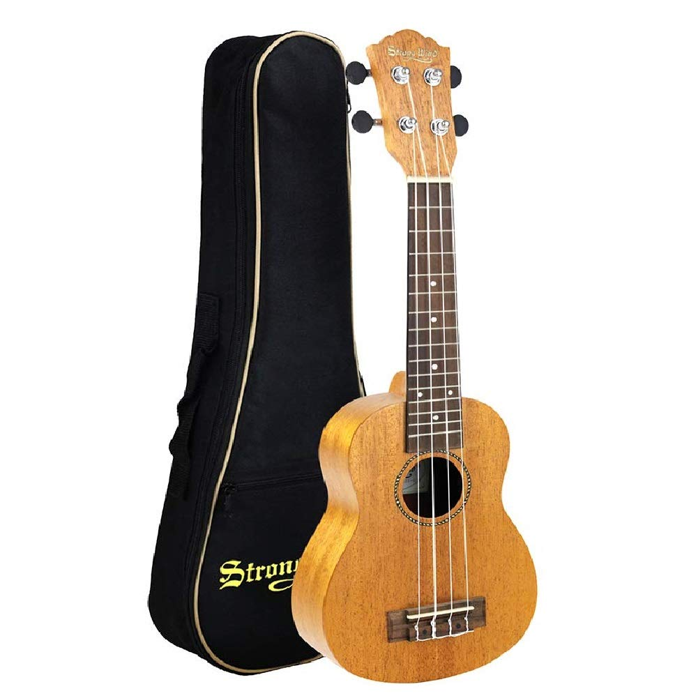 Wooden Kids Toy Soprano Ukulele Mahogany 21'' Kids Ukulele Guitar With Gig Bag for Toddler Kids Boys Girls Beginner Starter by Strong Wind