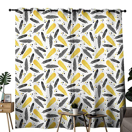 - Marilec Novel Curtains Yellow Decor Bird Feathers Patterns and Polkadots Exotic Tribal Decorating Stylish Home Artwork Yellow Black Blackout Draperies for Bedroom Living Room W72 xL84