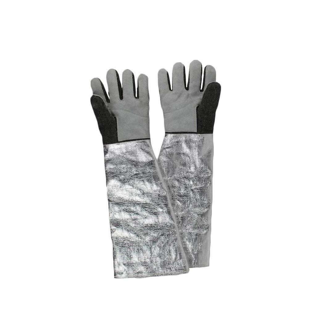 YYTLST High Temperature Resistant Gloves, Length 60cm, Aluminum Foil Design, Radiation Protection, Heat Resistance, High Temperature, A Pair by YYTLST