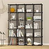 UNICOO - Multi Use DIY 20 Cube Wire Grid Organizer,Wardrobe Organizer, Bookcase, Book Shelf, Storage Organizer, Wardrobe Closet - (Black Wire)
