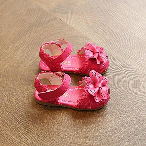 Jamicy® Babyschuhe, Baby Mädchen Sommer Mode Blume Bowknot Spitze Prinzessin Sandalen Schuhe Hot Pink