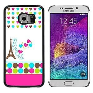 Paccase / SLIM PC / Aliminium Casa Carcasa Funda Case Cover - Polka Dot White Heart France Eifel - Samsung Galaxy S6 EDGE SM-G925