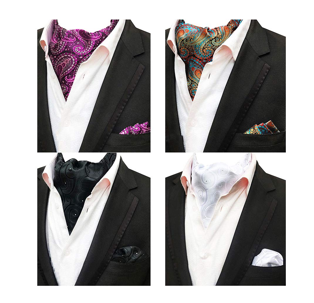 MOHSLEE Mens 4 PCS Dots Paisley Cravat Ascot Scarf Tie Necktie Pocket Square Set by MOHSLEE