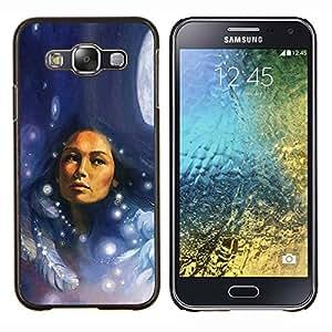 """Be-Star Único Patrón Plástico Duro Fundas Cover Cubre Hard Case Cover Para Samsung Galaxy E5 / SM-E500 ( Nativos plumas mujer india noche de luna"""" )"""