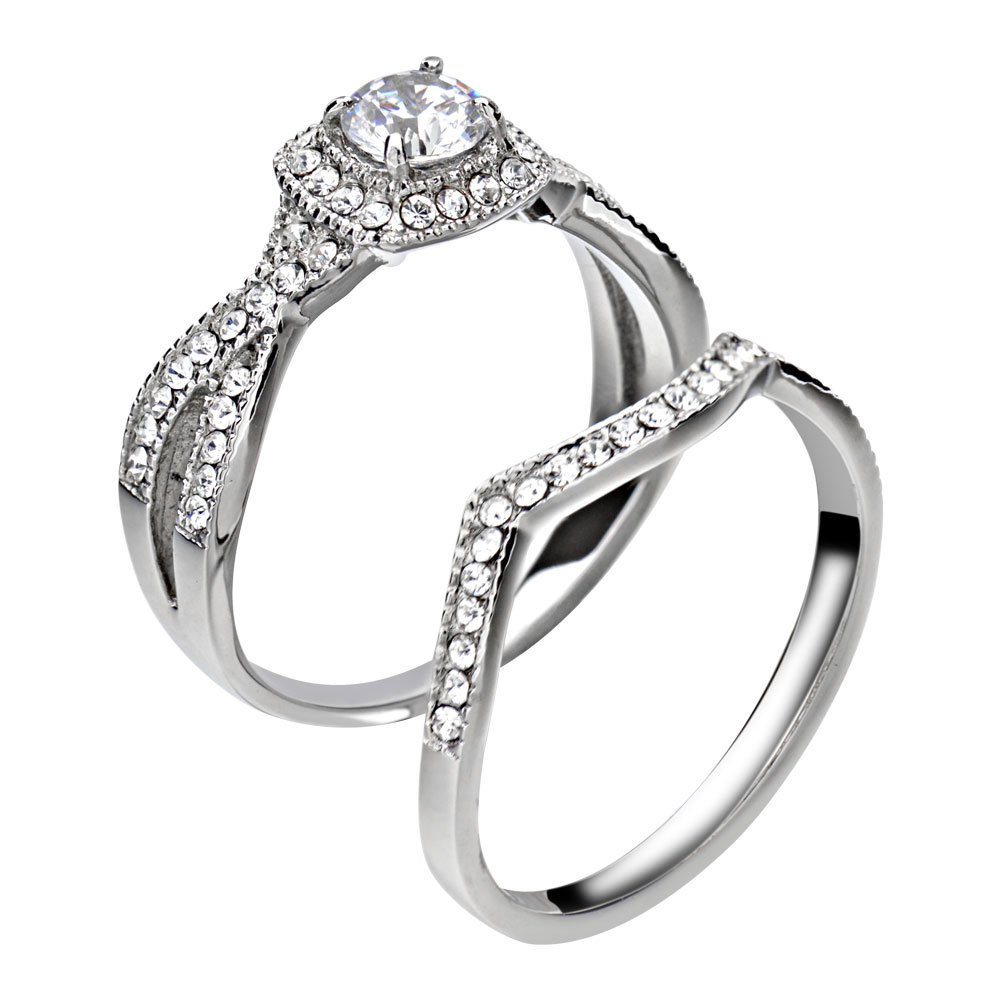 FlameReflection Stainless Steel Women's Infinity Wedding Ring Set Halo Round Cut Cubic Zirconia size 7 SPJ by FlameReflection (Image #3)