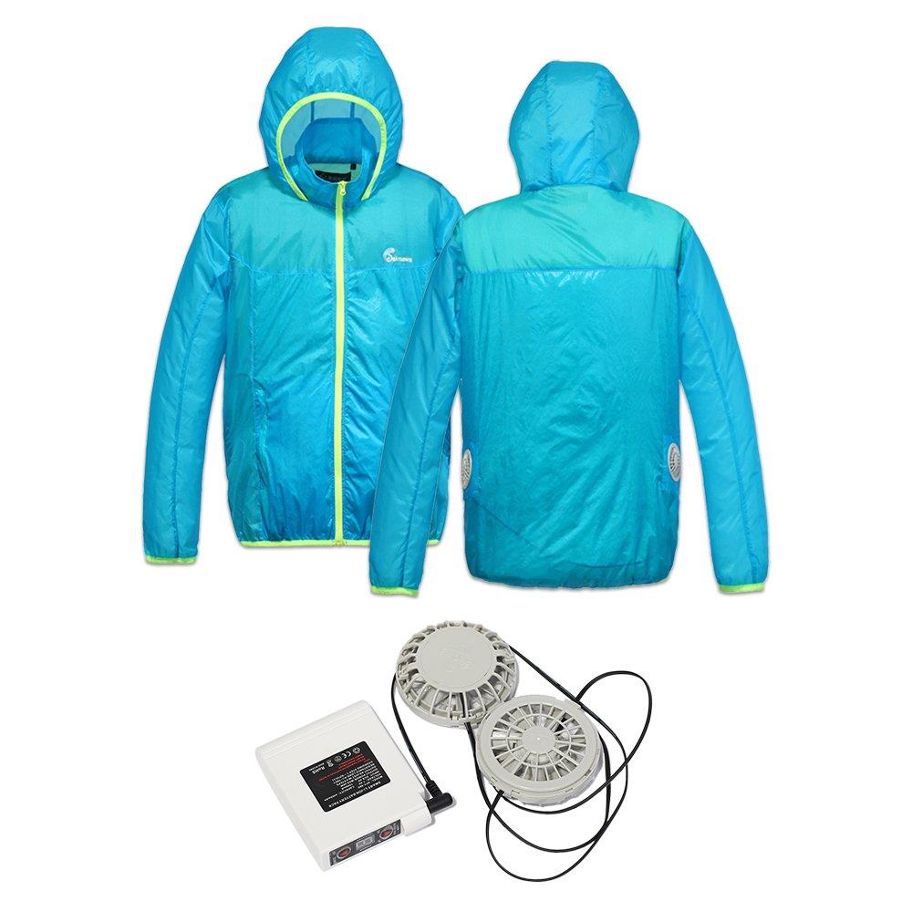 Jinpei 長袖 日焼け止め空調服+ファン+リチウムイオンバッテリーセット 屋外作業での熱中症対策暑さ対策に(青い黄色のエッジ) B07C74TFWJ XL 青い黄色のエッジフルセット